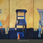 3 chairs, acrylic on wood